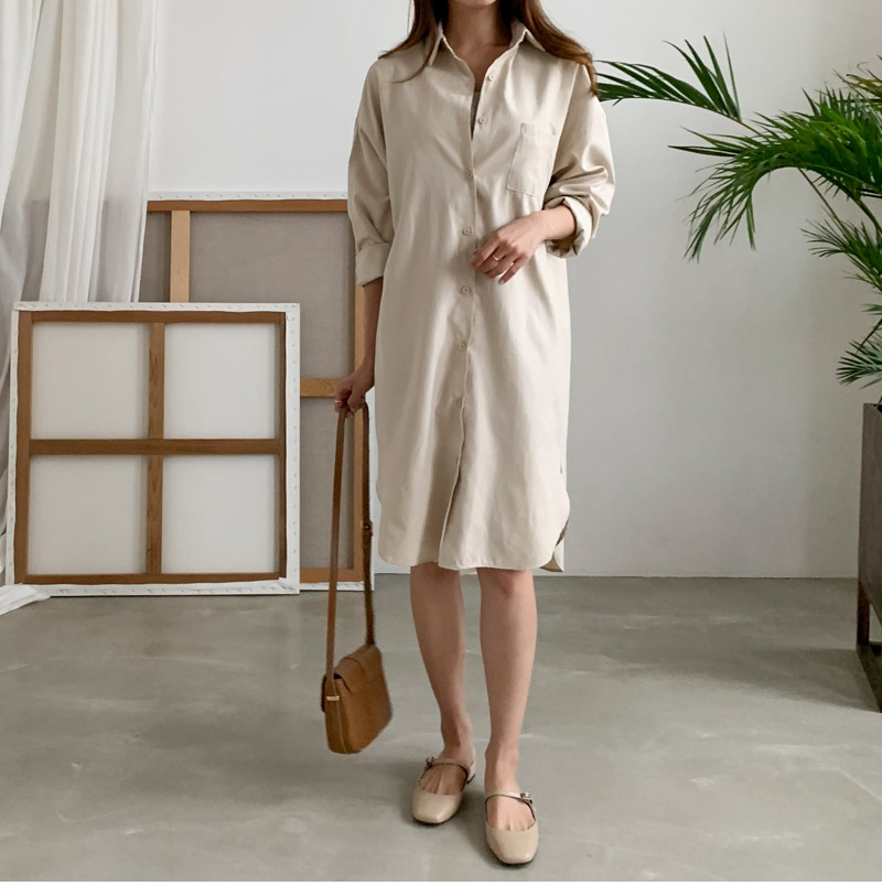 Cream Soft Shirt Dress