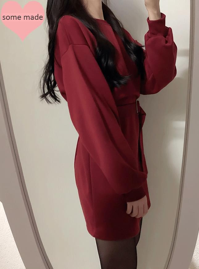Self-produced ♥ belt set raising brushed mini ops 洋裝