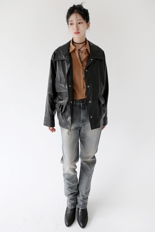 glossy maxi rider jacket (3colors)