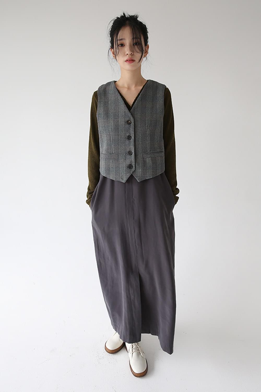 soft wool texture check vest