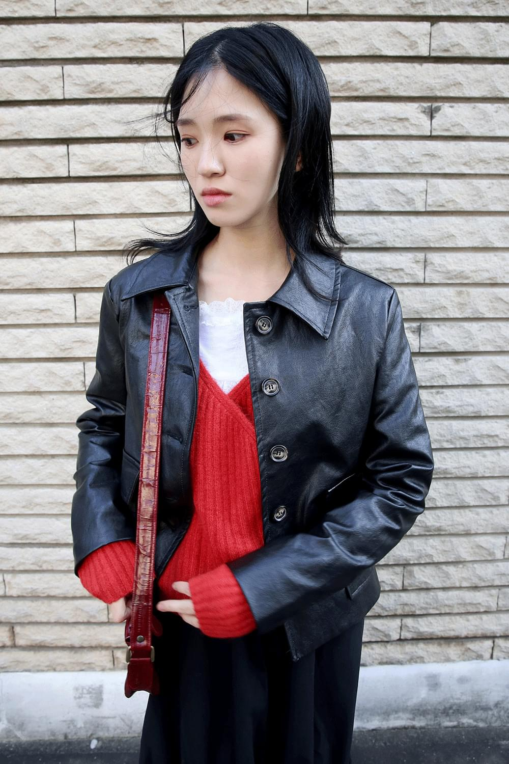 matt basic leather jacket (2colors)