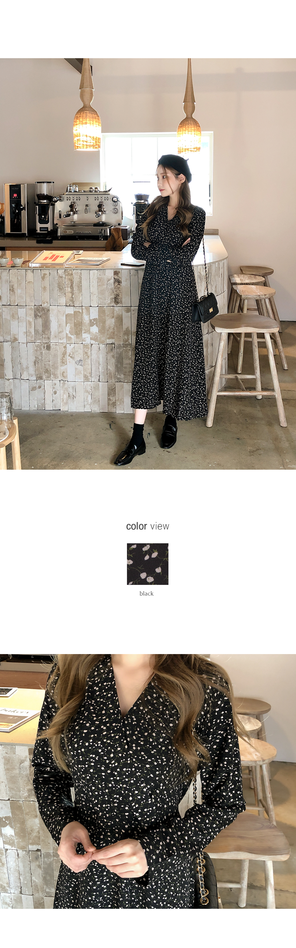 Soft Flower V-neck Dress