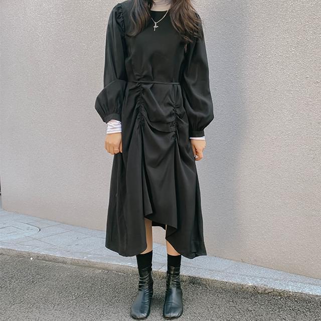 Unbal Karen Shirring Long Dress