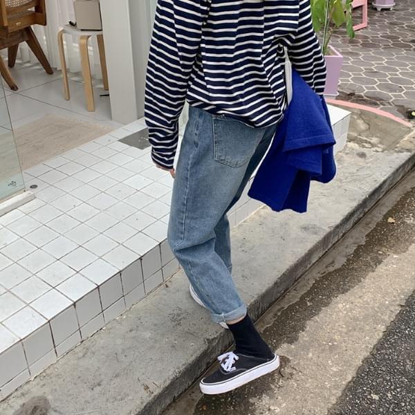Standing exhaust denim pants