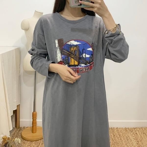 New York printing long T-shirt dress