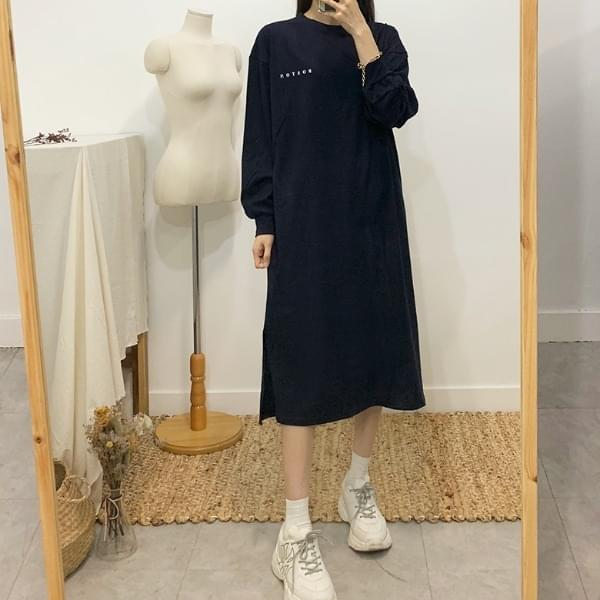 Boston printing long T-shirt dress