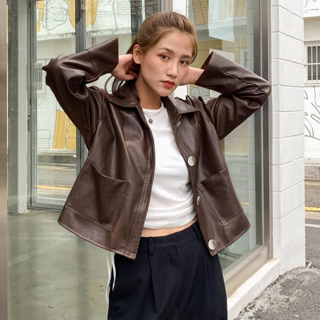 Drop shoulder loose fit cropped leather jacket
