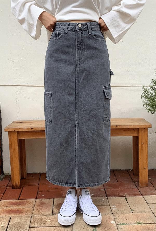 Gray pocket denim skirt
