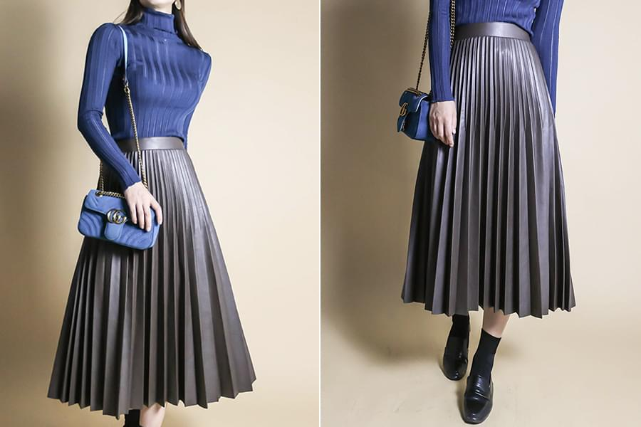 Pleated leather banding skirt_sk03380