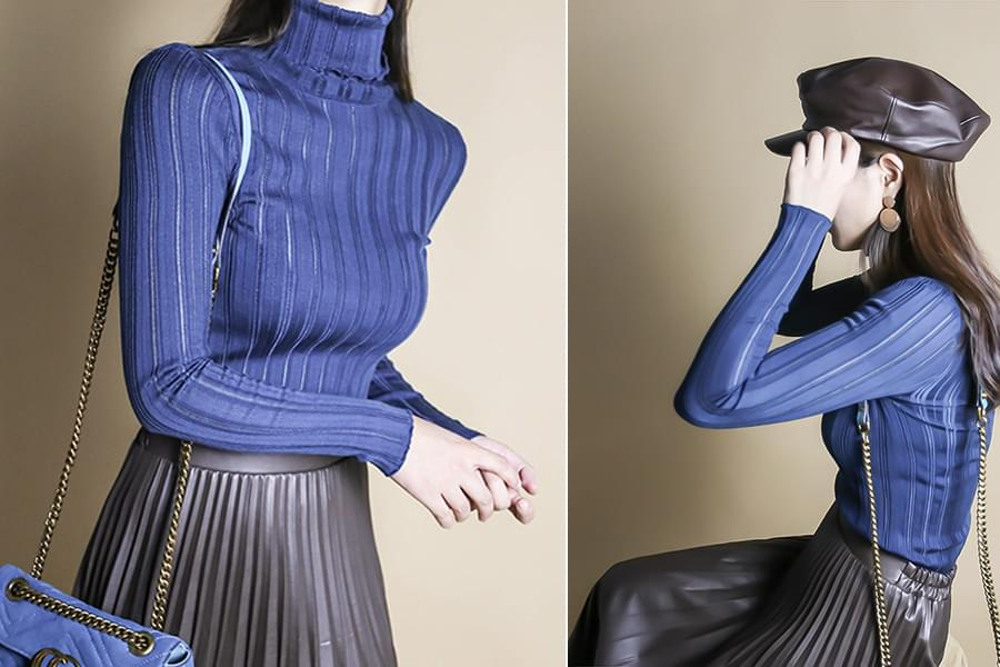 See-through Corrugated Pullover Knit_kn03380
