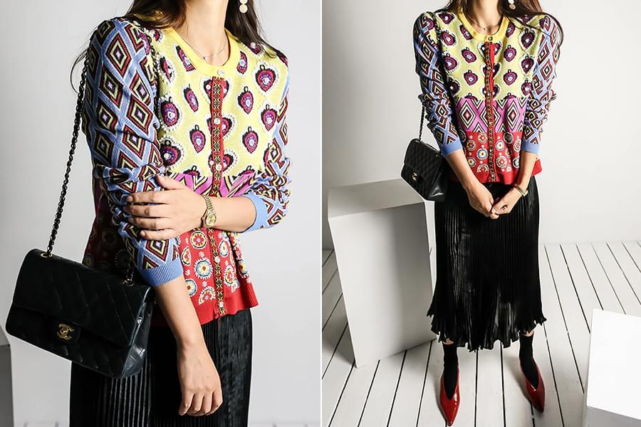 Colorful printing bijou cardigan_cd03384