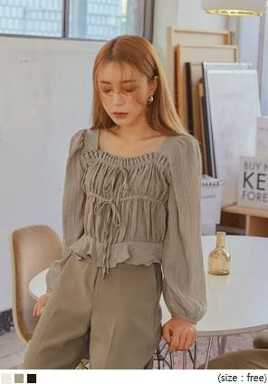 WRINKLE SQUARE SEETHROUGH BLOUSE