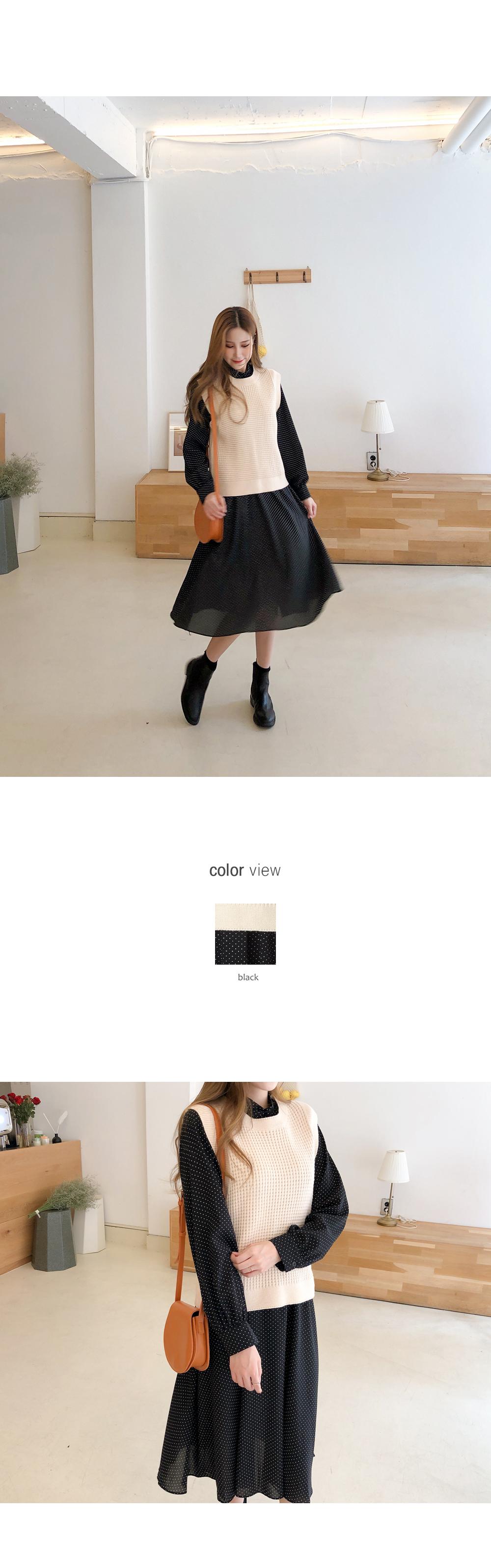 It is a fluttering dot dress + best SET
