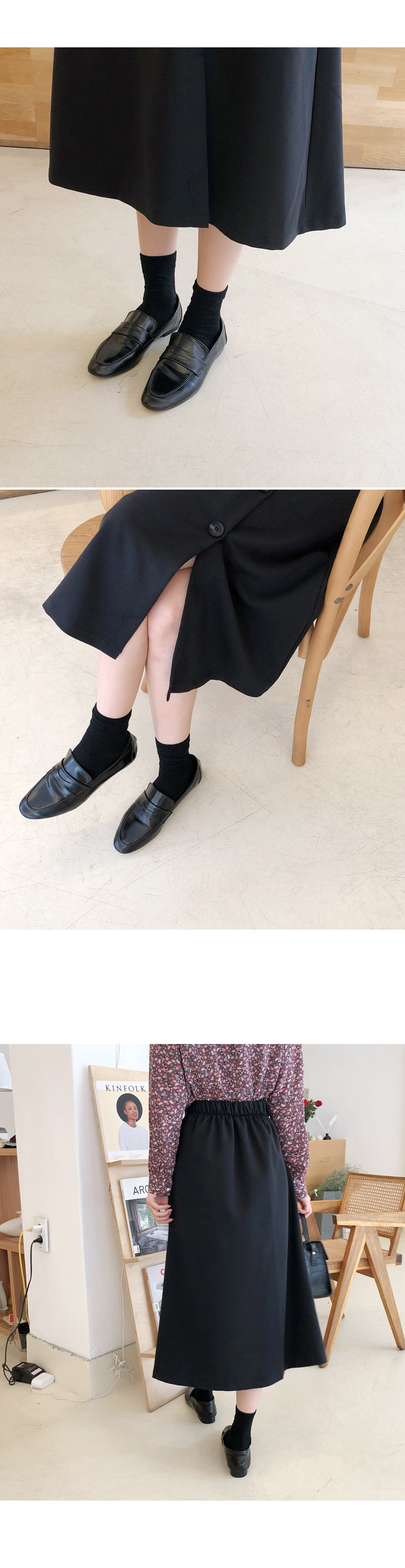 Daily simple button skirt