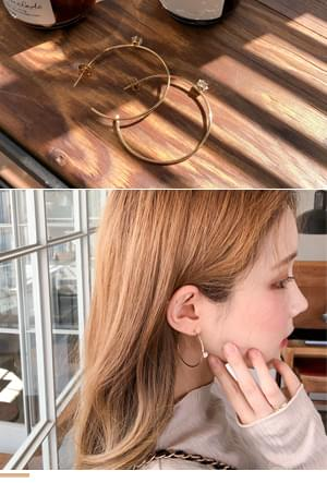 큐빅포인트링 귀걸이
