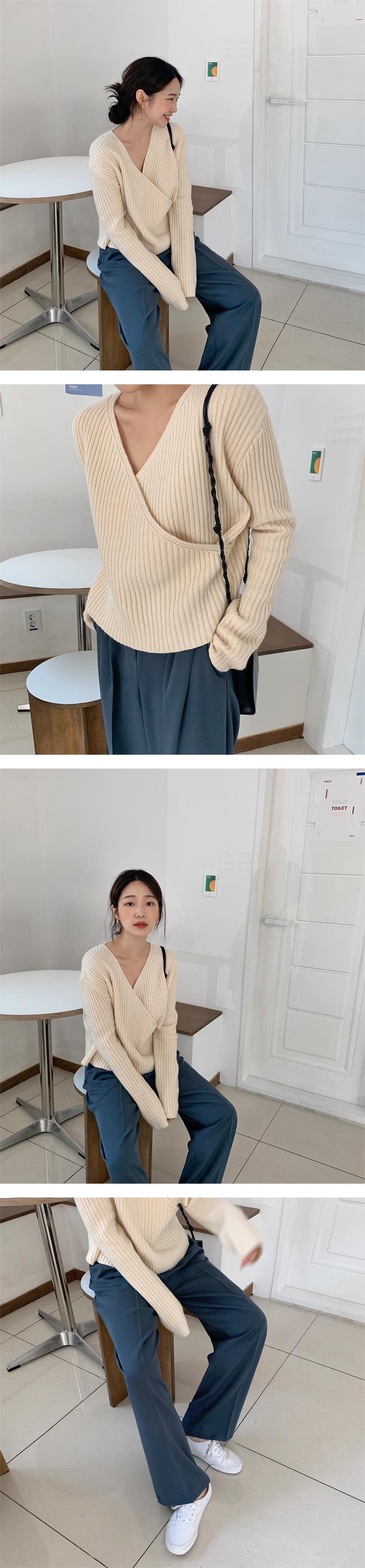 Golgi wrap wool knit_J (size : free)