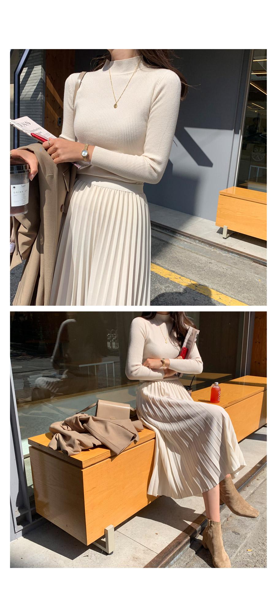 Rachel Goal Half Knit + Creamy Pleated Long Skirt