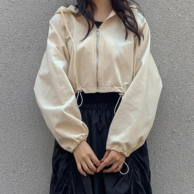 String crop bling hooded jacket