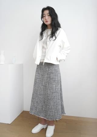 tweed A-line midi skirt