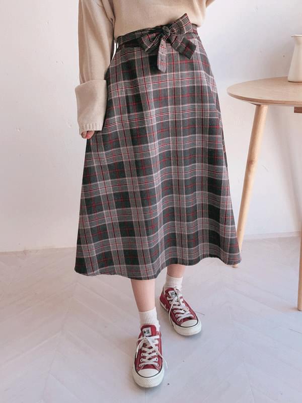 Ribbon Check Long Skirt