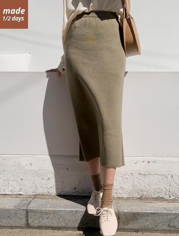 1/2 day skirt # 406 Trimmed knit long skirt