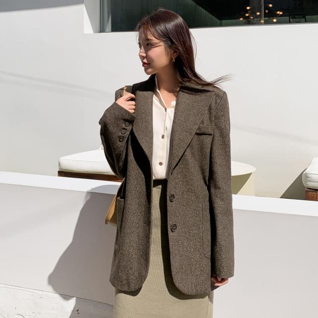 Shading overfit wool jacket-jk