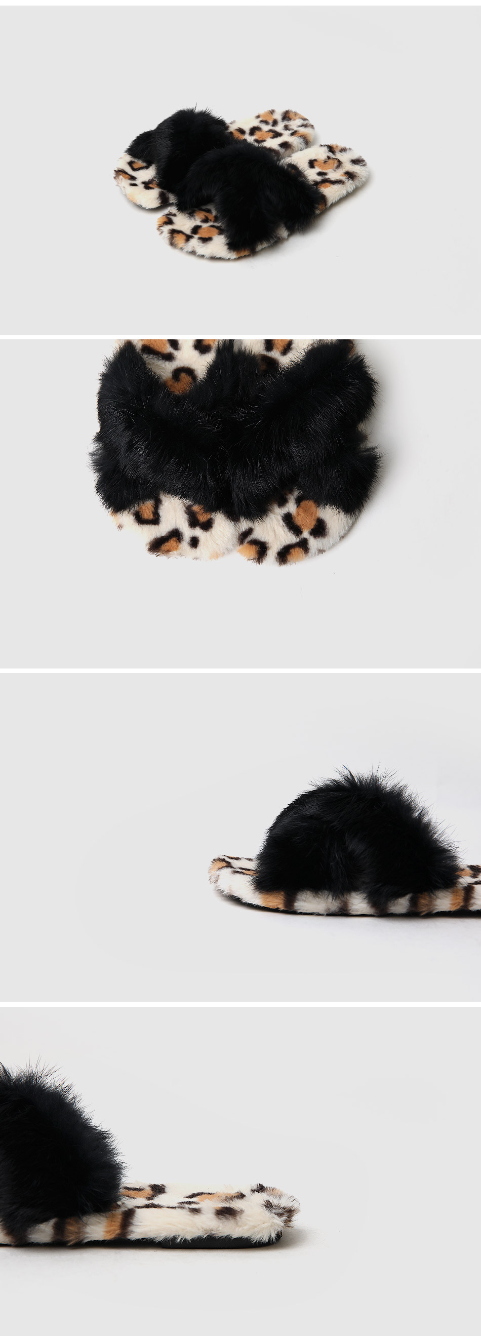 Key Fence Real Fur Slippers 1cm