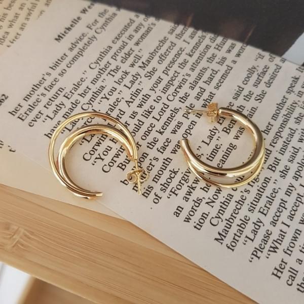 Polka double ring earrings