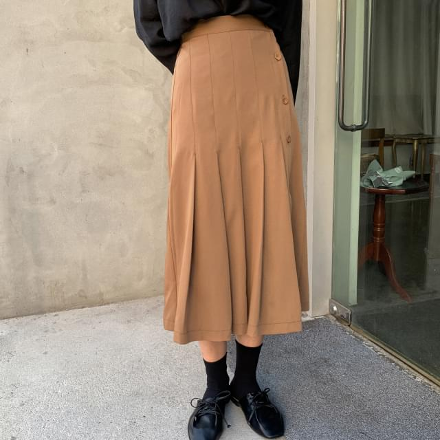 Wide Pleated Banding Long Skirt-sk