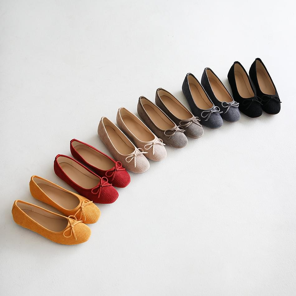 Ruvent Ribbed Flat Shoes 1cm