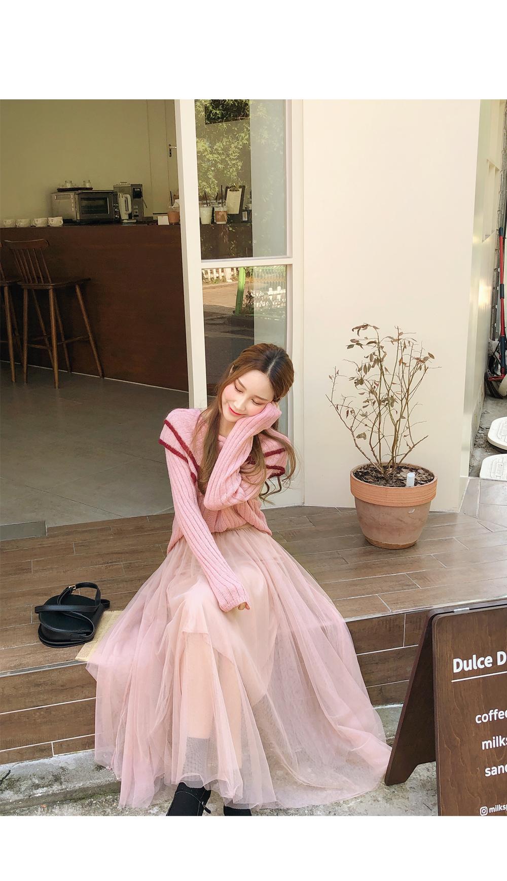 Bright ballerina silhouette knit + skirt SET