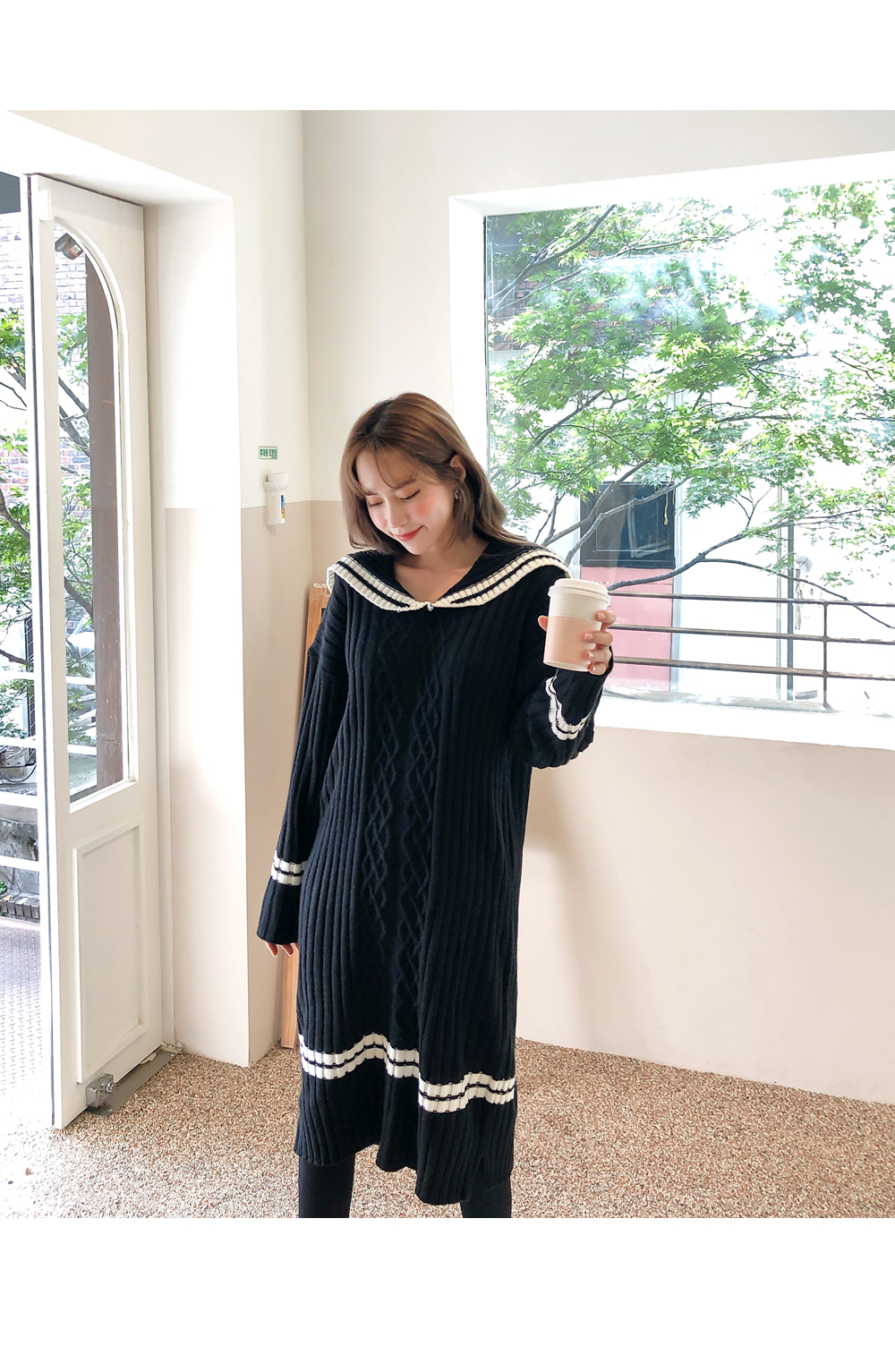 Color point collar knit dress