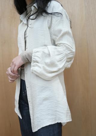 sleeve shirring pure blouse