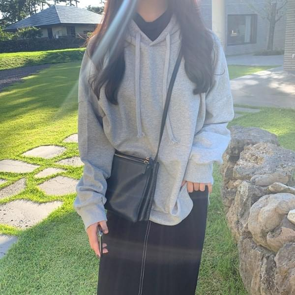 Embossed Slit Hooded Sweatshirt