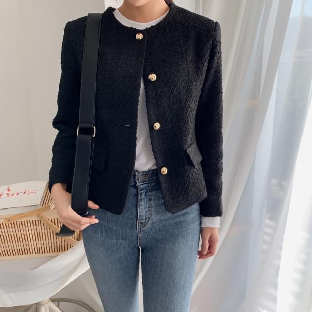 basic tweed short jacket basic tweed short jacket