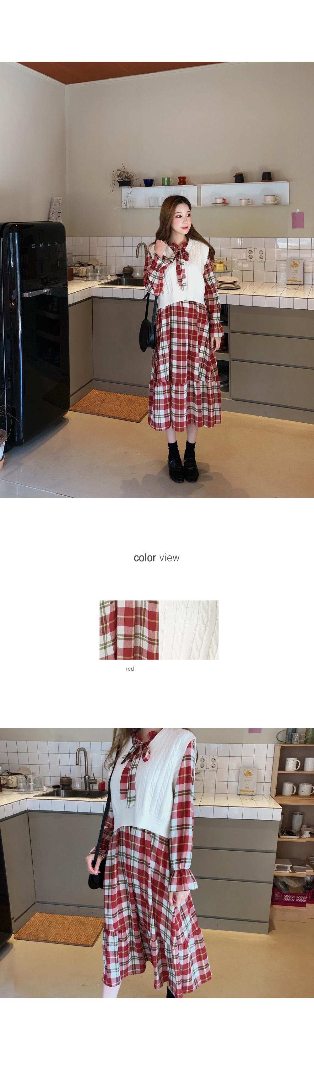 Attractive check pattern dress + best SET