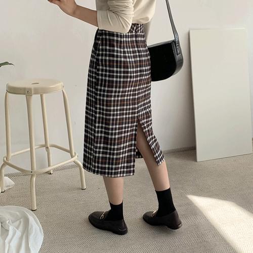 Margarine check long skirt