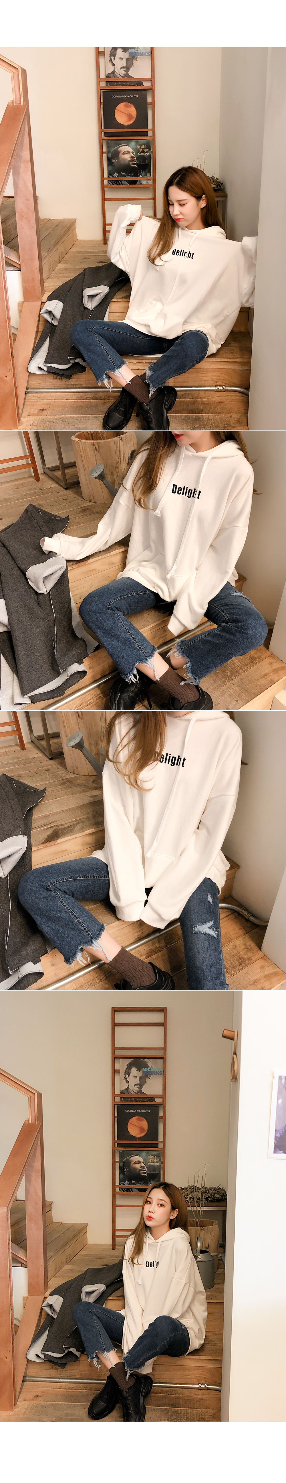 Simple loose fit hooded sweatshirt