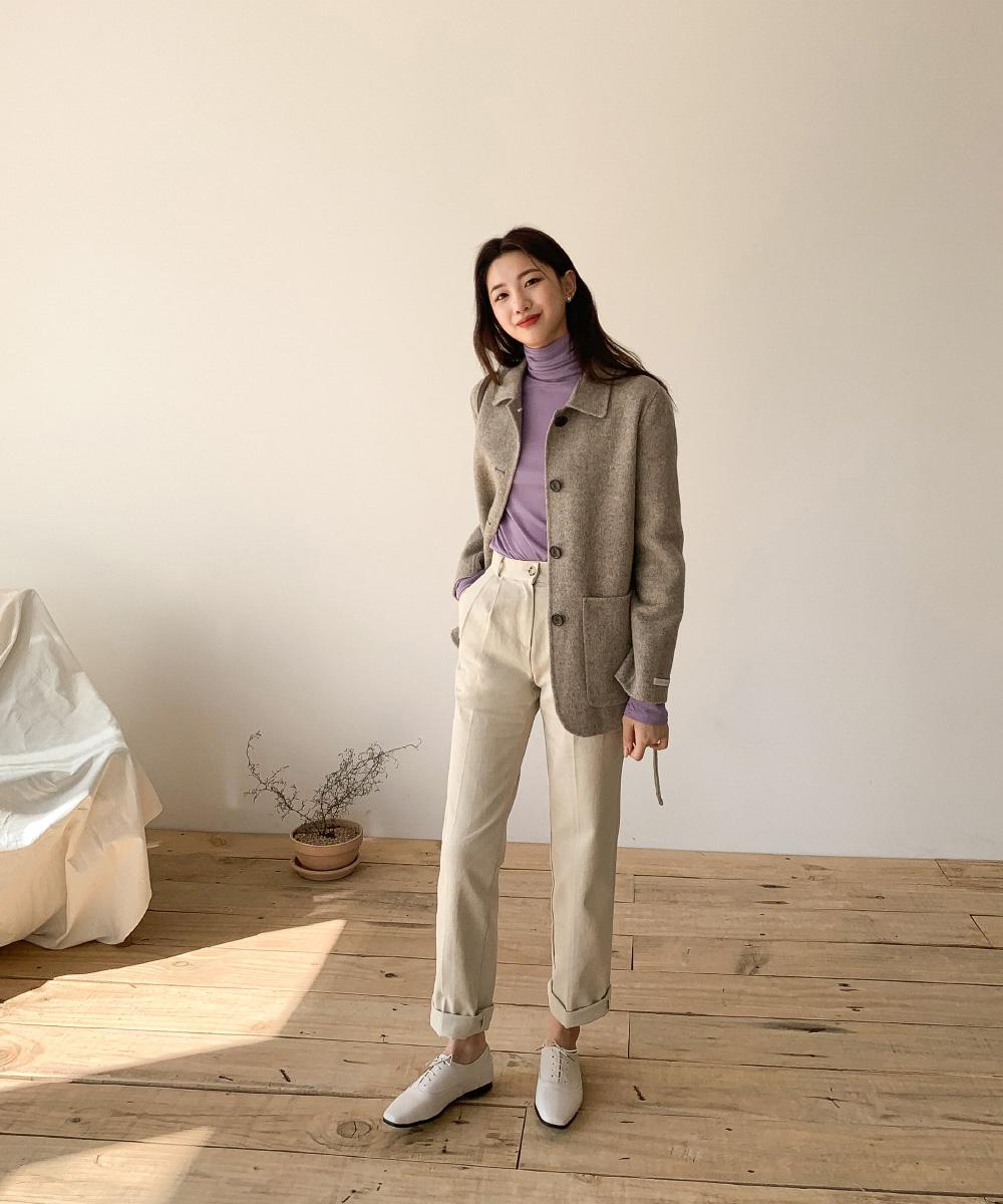 Herringbone Check Wool Half Coat-