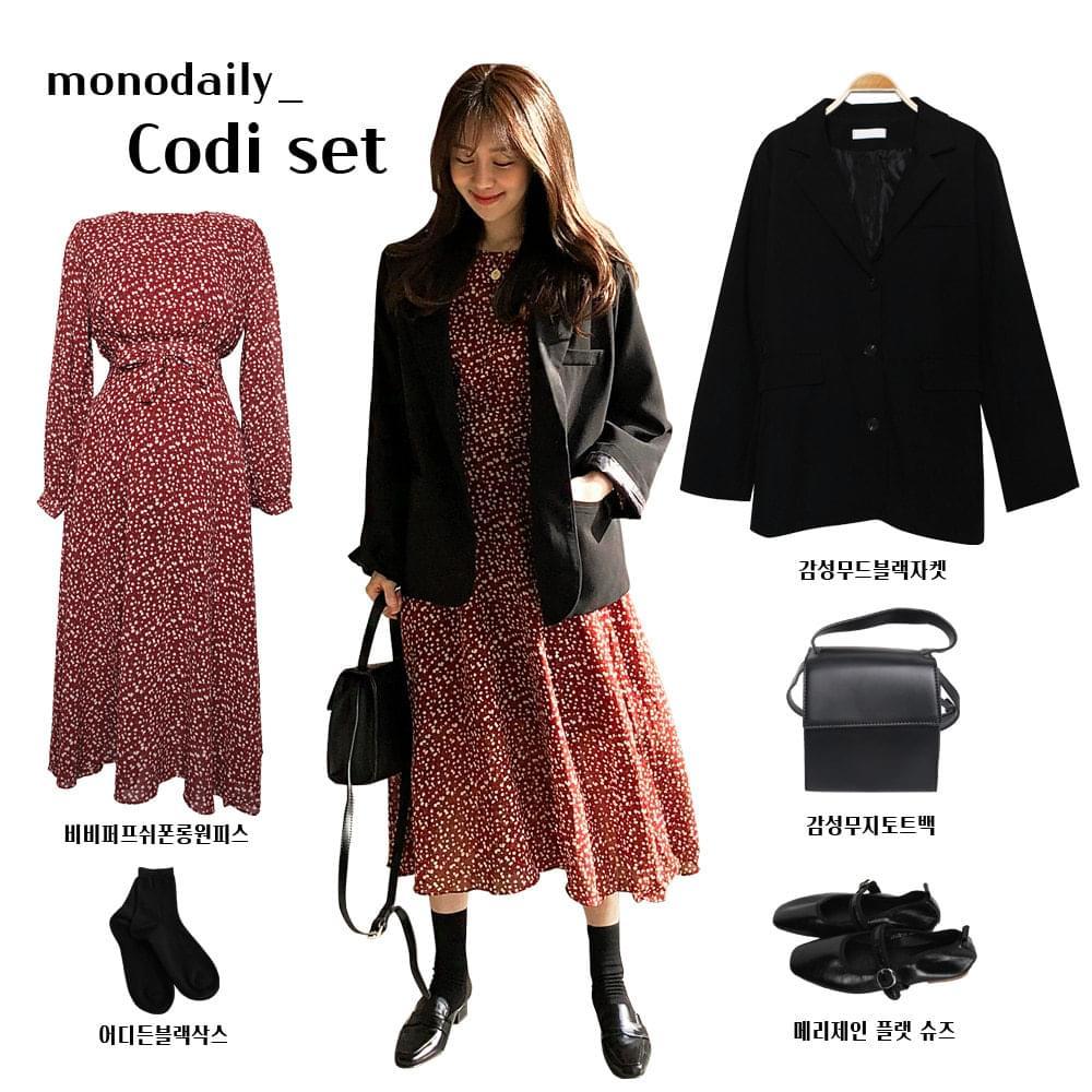Emotional Mood Black Jacket + BB Puff Chiffon Long Dress 58,800 원 → 52,900 원