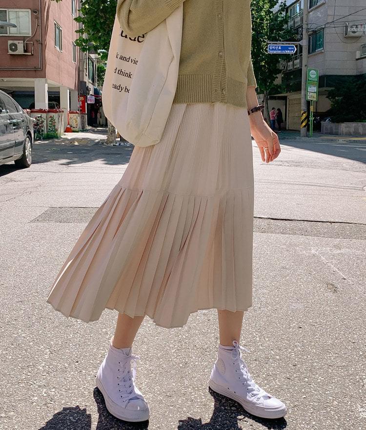 Eco pleated long skirt