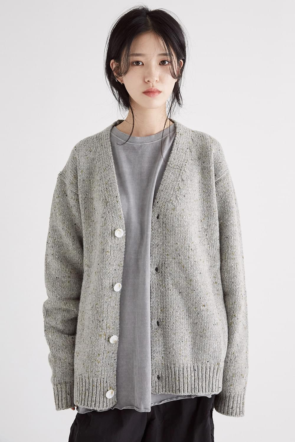 solid knit texture cardigan (2colors)