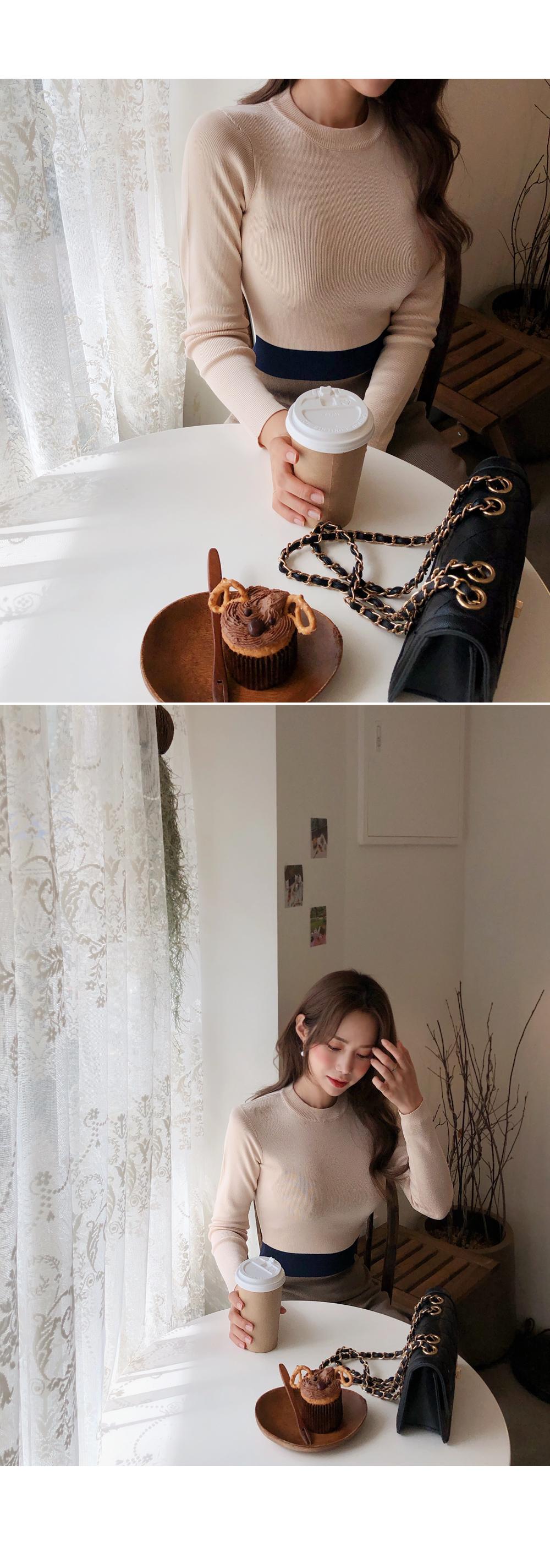 Knit fit color knit dress