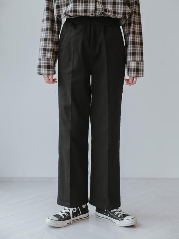Span cotton wide band slacks