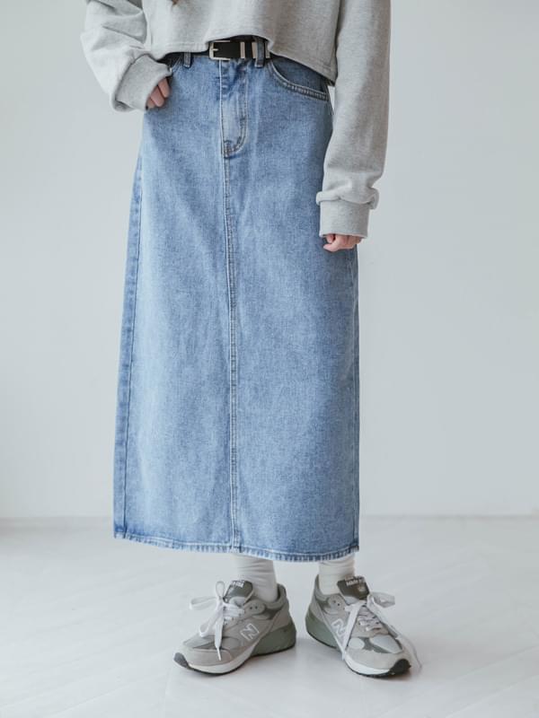 Back classic denim skirt