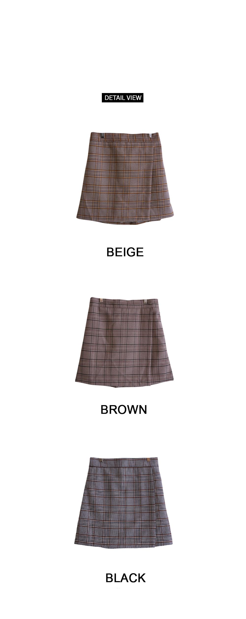 Modern Check Wrap Skirt