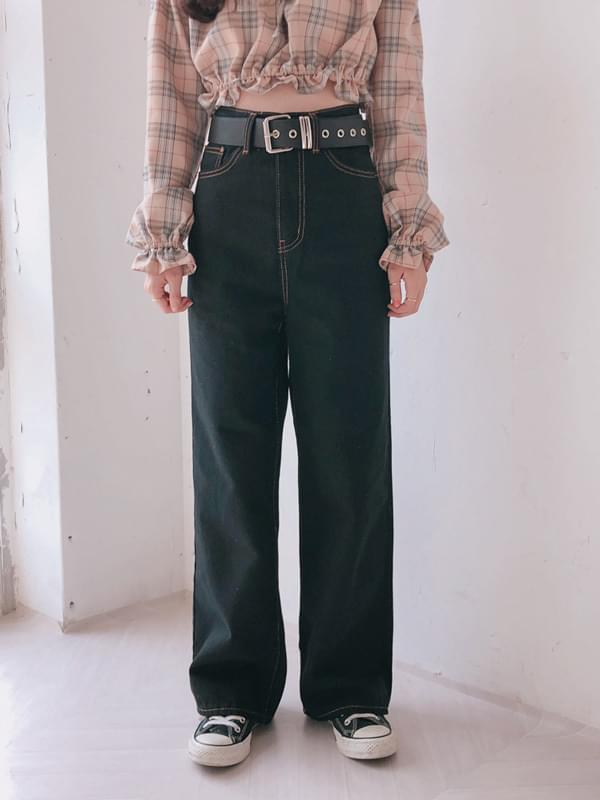 Stitched Black Wide Pants