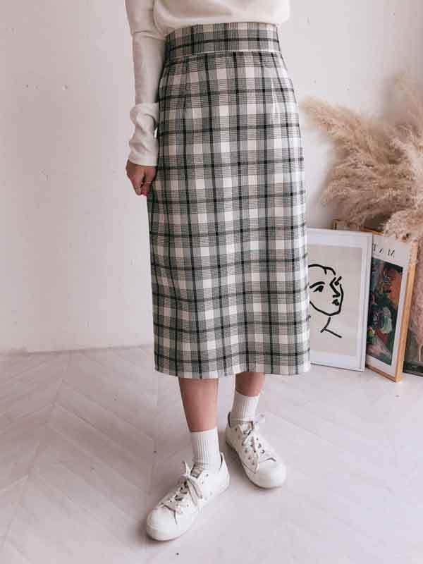 Pink check long skirt