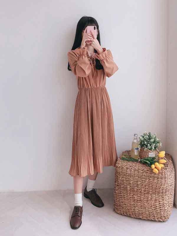 Plain tenra pleated dress