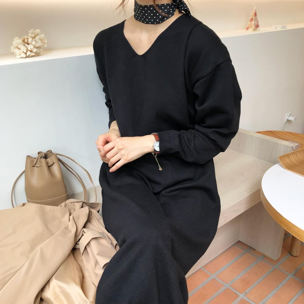 Cloud knit long dress
